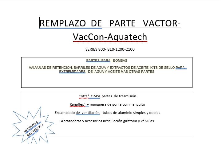 Download Spanish version of Vactor Parts Info